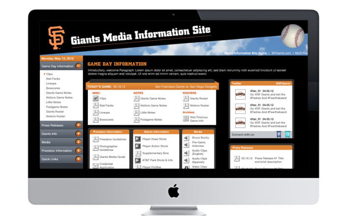 San Fransisco Giants Portfolio User Interface
